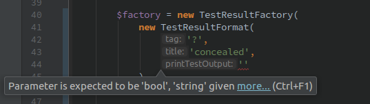 The error highlighted in PHPStorm